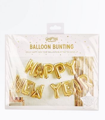Gold Happy New Year Balloon Bunting New Look