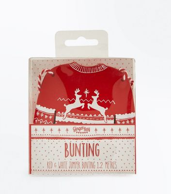 Red and White Christmas Jumper Bunting New Look