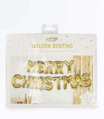 Gold Merry Christmas Balloon Bunting New Look