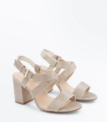 Wide Fit Gold Glitter Strappy Block Heel Sandals New Look