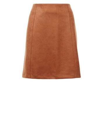 Tall Tan Suedette A-Line Mini Skirt New Look