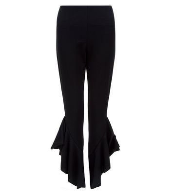 cameo-rose-shell-black-frill-hem-trousers
