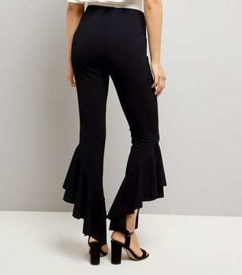 Cameo Rose Shell Black Frill Hem Trousers New Look