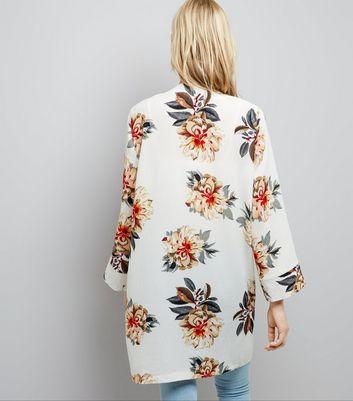 Tall White Floral Print Kimono New Look