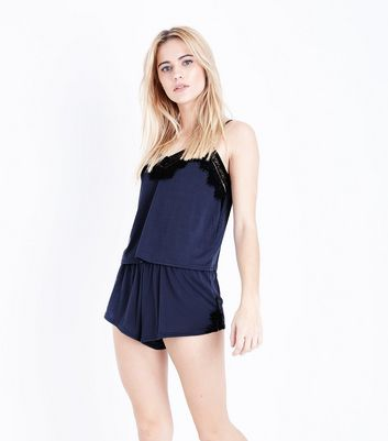 Navy Lace Trim Cami and Shorts Pyjama Set New Look