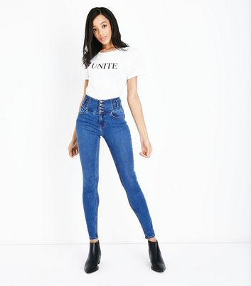 Tall Blue High Waist Button Front Skinny Jeans