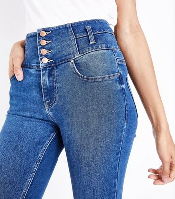 Tall Blue High Waist Button Front Skinny Jeans New Look