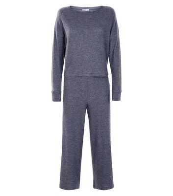 Dark Grey Ribbed Culotte Pyjama Set New Look