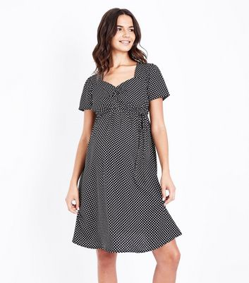 Maternity Black Polka Dot Sweetheart Neck Dress New Look