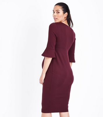 Maternity Burgundy Bell Sleeve Midi Dress New Look