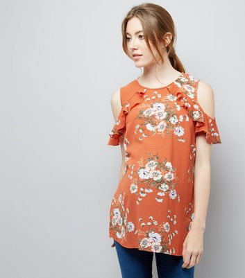 Maternity Orange Floral Frill Cold Shoulder Top New Look