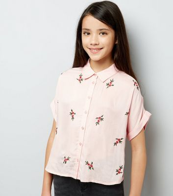 Teens Pink Floral Embroidered Shirt New Look