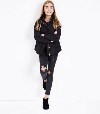 Teens Black Funnel Neck Puffer Jacket New Look