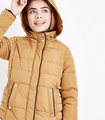 Teens Mustard Yellow Funnel Neck Puffer Jacket New Look