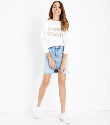 White Cherry Delight Embroidered Sweatshirt New Look