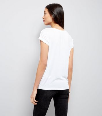 White Rolled Sleeve T-Shirt New Look