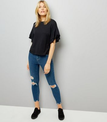 Black Double Frill Sleeve T-Shirt New Look