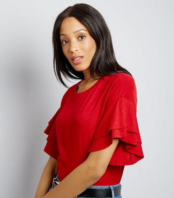 Red Double Frill Sleeve T-Shirt New Look
