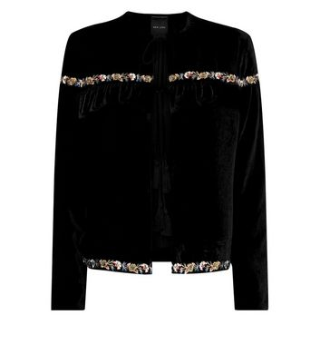 Black Frill Sleeve Embroidered Velvet Blazer New Look