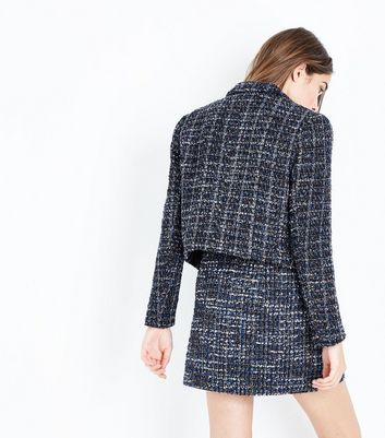 Black Boucle Cropped Blazer New Look