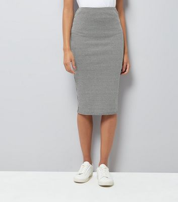 Grey Houndstooth Jersey Pencil Skirt New Look