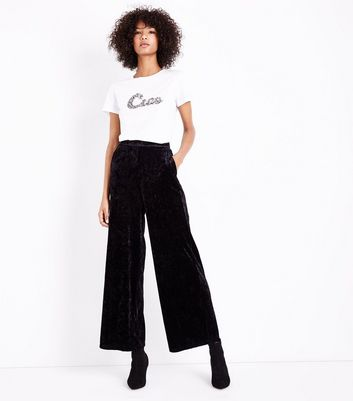 Black Velvet Wide Leg Trousers New Look