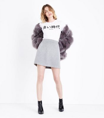Grey Brushed Mini Skirt New Look