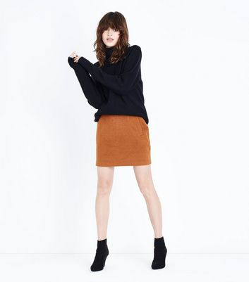 Tan Brushed Mini Skirt New Look