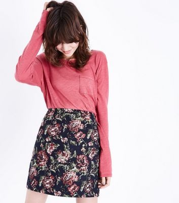 Navy Rose Jacquard Mini Skirt New Look