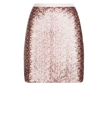 Rose Gold Sequin Mini Skirt New Look