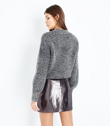 Pewter Leather-Look Mini Skirt New Look