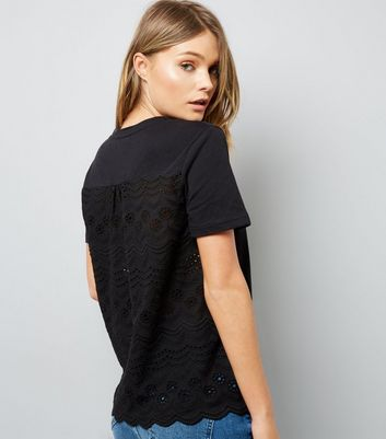 Black Woven Cut Out Embroidered Back T-Shirt New Look
