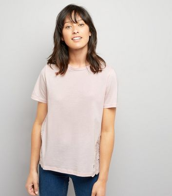 Pink Woven Cut Out Embroidered Back T-Shirt New Look
