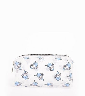 Sheer Narwhal Slogan Make Up Bag New Look