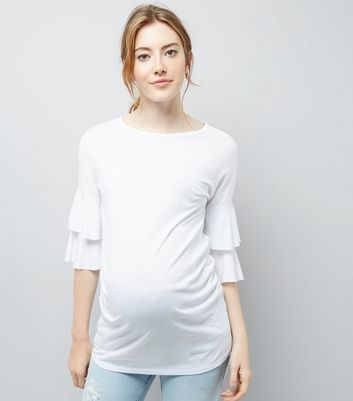 Maternity White Tiered Sleeve Jersey T-Shirt New Look