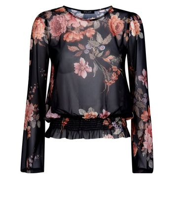Black Floral Mesh Shirred Hem Top New Look