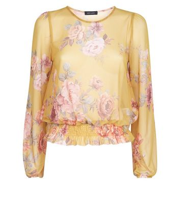 Yellow Floral Mesh Shirred Hem Top New Look