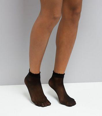 Black Stripe Mesh Socks New Look