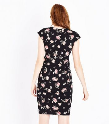 Maternity Black Floral Cap Sleeve Dress New Look