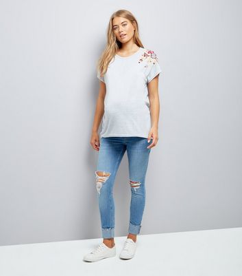 Maternity Grey Floral Embroidered T-Shirt New Look