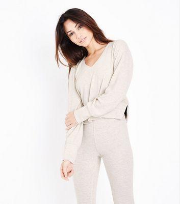Cream Trim Pyjama Hoodie New Look