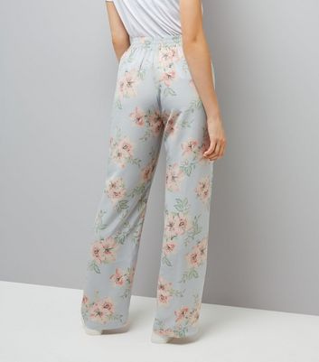 Tall Pale Blue Floral Print Wide Leg Trousers New Look