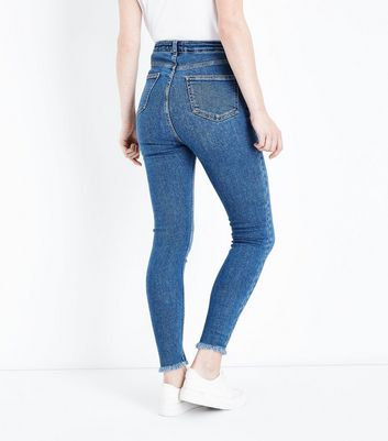 Blue High Waist Frayed Hem Super Skinny Dahlia Jeans New Look