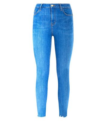 Bright Blue Frayed Hem Skinny Shaper Jeans New Look