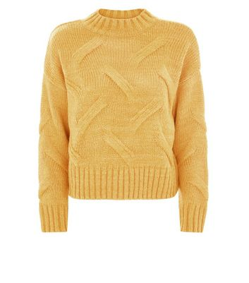 Mustard Yellow High Neck Cable Knit Jumper New Look