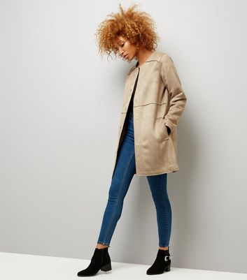 Stone Suedette Collarless Longline Jacket New Look