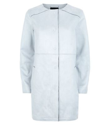 Pale Blue Suedette Collarless Longline Jacket New Look