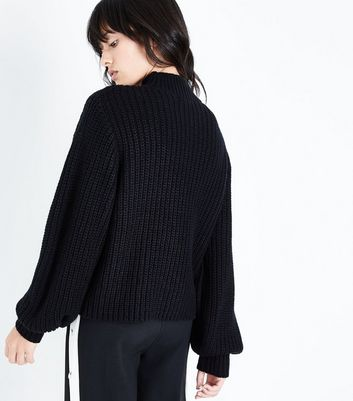 Black Chunky Knit Balloon Sleeve Jumper New Look