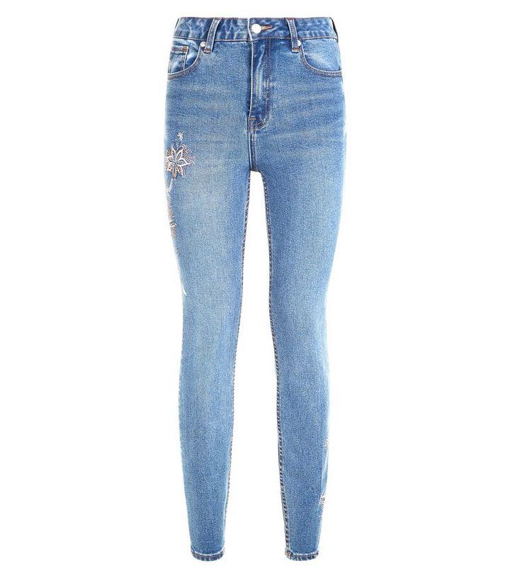 Rabatt-Sammlung Schönheit klar und unverwechselbar Jenna – Blaue Skinny Jeans mit Blumenmuster und Schmucksteinen Für später  speichern Von gespeicherten Artikeln entfernen