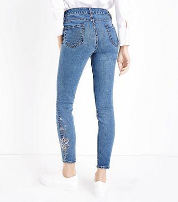 Blue Floral Gem Embellished Skinny Jeans New Look
